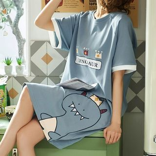 Jeony - Dinosaur Print Short-Sleeve Pajama Dress