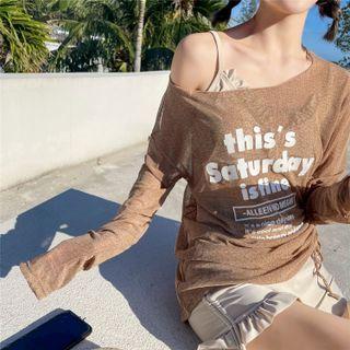ASUMM - Set: Ruffled Swim Top + Shorts + Long-Sleeve Lettering Top