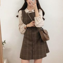 Leoom - Pleated Shirt / Sleeveless Plaid Dress