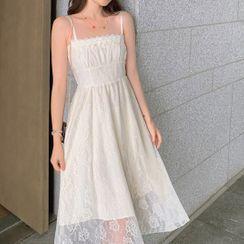 Morning Glory - Spaghetti Strap Midi Lace Dress