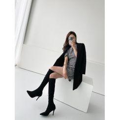 PPGIRL - Short-Sleeve Houndstooth Dress