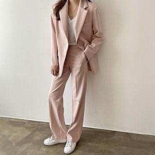 Seoul Fashion(ソウルファッション) - Blazer & Pants Basic Office Look Set