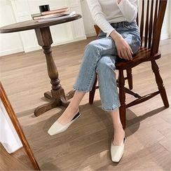 MONOBARBI - Square-Toe Faux-Leather Slip-Ons