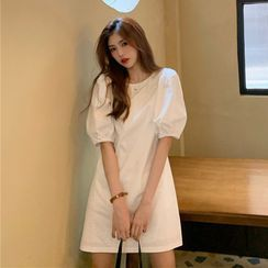 Whoosh(ウーシュ) - Puff-Sleeve Plain Shift Dress