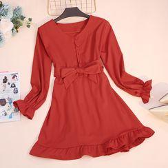 WAVE AVENUE - Long-Sleeve Tie Waist Mini A-Line Dress