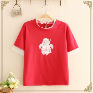 Kawaii Fairyland - Mesh Panel Doll Print Short-Sleeve Top