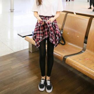 Jolly Club - Inset Plaid Skirt Leggings