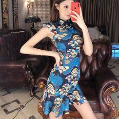 Elmiko - Traditional Chinese Sleeveless Printed Ruffled Mini Dress
