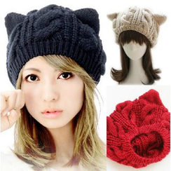 Eva Fashion - Cat Ear Cable Knit Beanie
