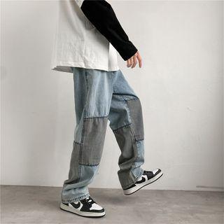 Oakjam - Two-Tone Wide-Leg Jeans