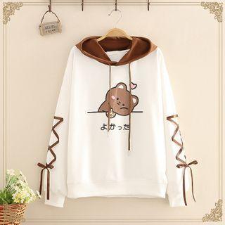 Kawaii Fairyland - Bear Printed Lace-Up Hoodie