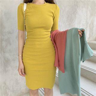 Alfie - Plain Short-Sleeve Slim-Fit Dress
