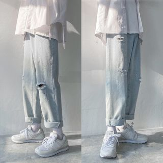 8th Sense - High-Waist Ripped Loose Fit Straight Cut Jeans