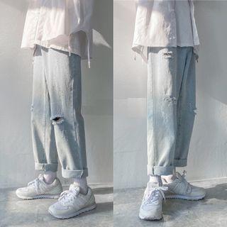 8th Sense - High-Waist Ripped Loose Fit Straight Cut Jeans