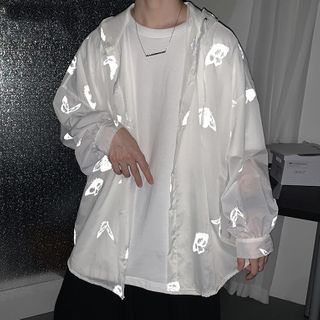 YERGO - Reflective Print Sheer Hooded Zip Jacket