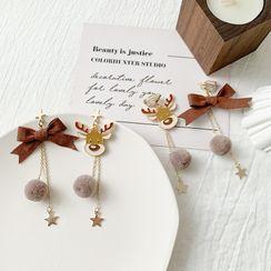 Admae - 圣诞鹿及蝴蝶结不对称耳坠