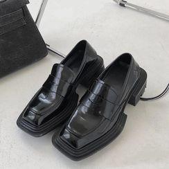 DimeDance - 粗跟方形鞋頭樂福鞋