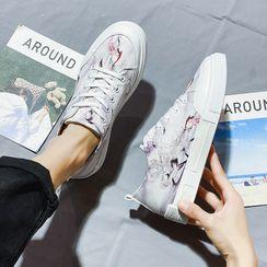 Lion Tips - Printed Canvas Platform Sneakers (Various Designs)