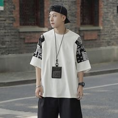 49th Day - Elbow-Sleeve Paisley Panel T-Shirt