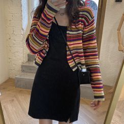 Shopherd - 幼肩带迷你A字连衣裙 / 条纹开衫