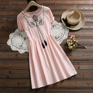Fancy Show - Embroidered Short-Sleeve A-Line Dress