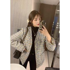 chuu - V-Neck Fringed Tweed Jacket
