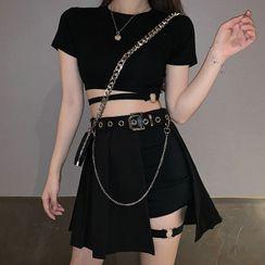 PokkaMoma - 短袖短款T裇 / 短褲 / 打褶襉迷你A字裙 / 裙褲 / 套裝