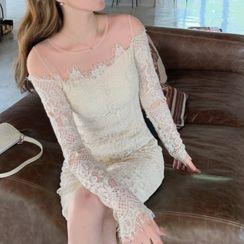 Glacia - Long-Sleeve Lace Sheath Dress