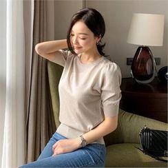 Styleberry - Short-Sleeve Glittered Knit Top