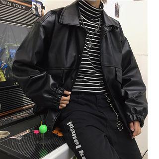 Koiyua - Couple Matching Applique Faux-Leather Jacket