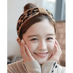 Miss21 Korea - Wide Leopard Knit Hair Band in 2 Designs