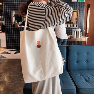 Milha - Buttoned Canvas Tote Bag