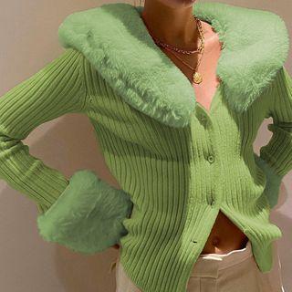 Sosana - Detachable Fluffy Collar Trim Cardigan