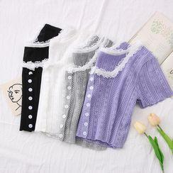 Babique - Eyelet Lace-Trim Crop Knit Top