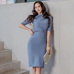 Dimanche - Short-Sleeve Belted Sheath Dress