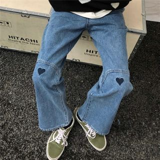 INStudio - High-Waist Heart Embroidery Jeans
