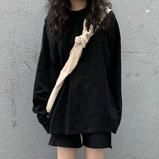 Dute - Long-Sleeve Plain T-Shirt / Wide Leg Shorts