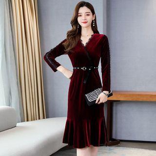 Romantica - Long-Sleeve Midi Velvet A-Line Dress