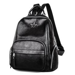 Annmuu - Star Applique Faux Leather Backpack