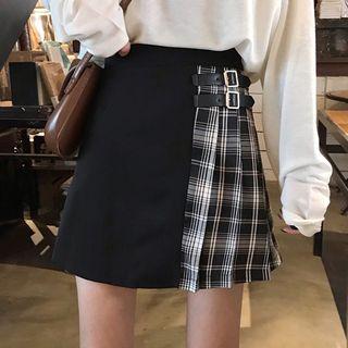 Panorama - Plaid Panel Mini A-Line Pleated Skirt