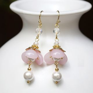 Kanzashi - Retro Faux Pearl Flower Dangle Earring