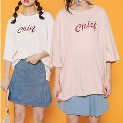 Ashlee - Letter Elbow-Sleeve T-shirt