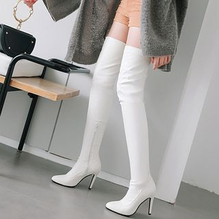 Cinnabelle - Faux Leather High-Heel Zip Over-The-Knee Boots
