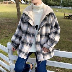Cowpow - Faux Shearling Plaid Zip Jacket