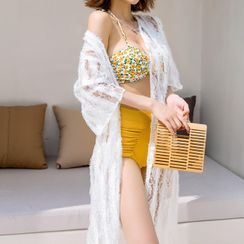 Salanghae - Set: Floral Print Bikini Top + High Waist Plain Bottom + Short Sleeve Cover-Up