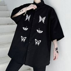 ANCHO - Butterfly Embroidered 3/4-Sleeve Shirt