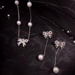 True Glam - Rhinestone Bow Faux Pearl Necklace / Dangle Earring