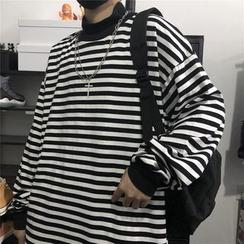 Giuliana - Striped Mock-Neck Oversized Long-Sleeve T-Shirt