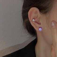 Metallique - Rhinestone Stud Earring / Ear Cuff
