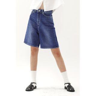 SIMPLY MOOD - Washed A-Line Midi Denim Shorts